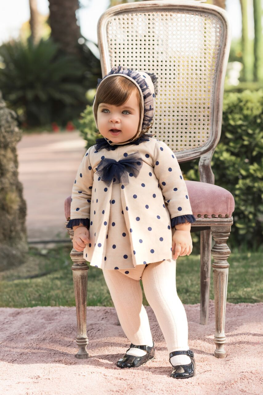 2f660309a873 W18DP39 Dolce Petit Beige Dress with Navy Spot   Bloomers Baby ...