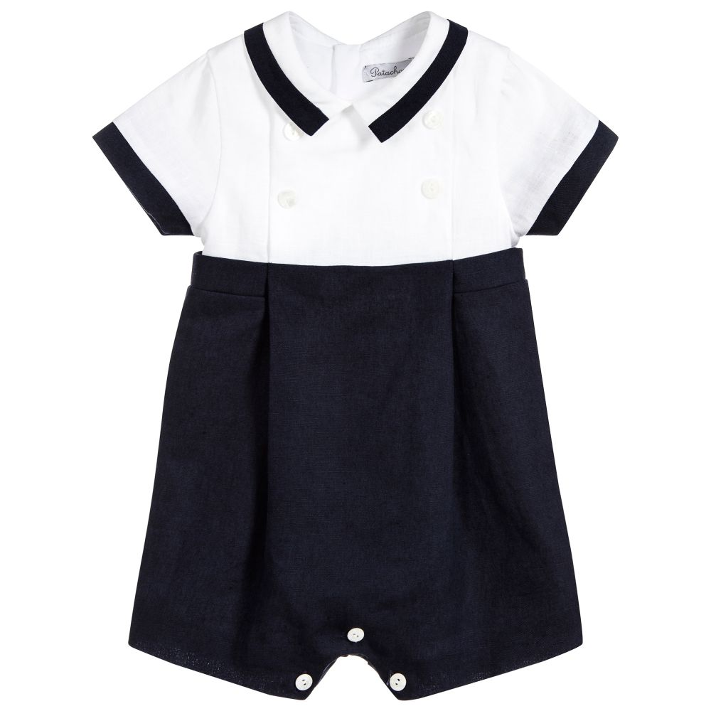 36c421c16837 S18P12 Patachou Linen Romper With Navy Shorts   White Top – Buttoned ...