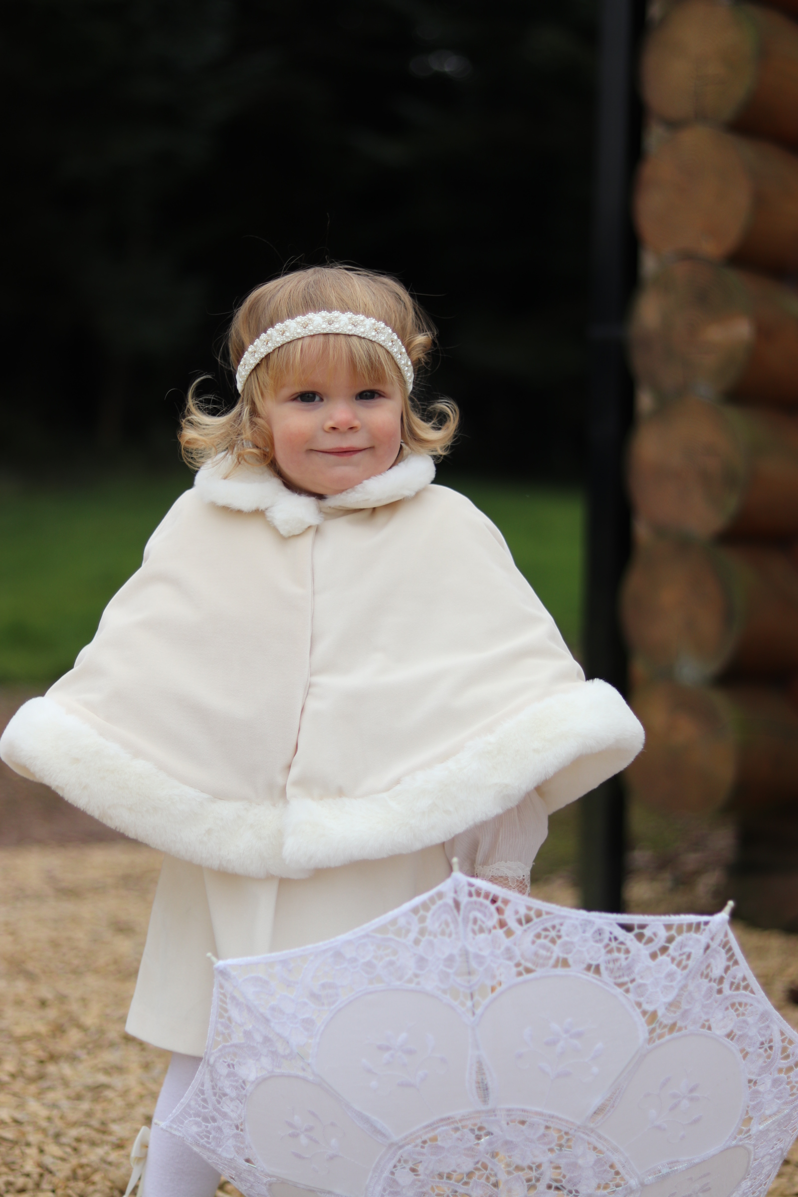 Patachou Cream Velour Cape with Fur – Buttoned Up Childrens Boutique df17113df