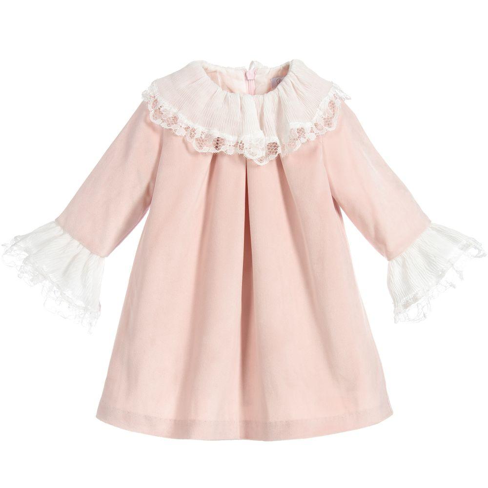 138c5b03af33 W18P29 Patachou Pink Velvet Dress – Buttoned Up Childrens Boutique
