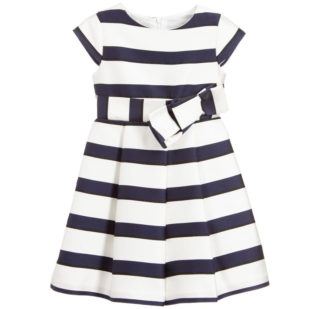 5344bccd8e1 S19P1 Patachou Navy   White Stripe Pleated Dress with Bow – Buttoned ...