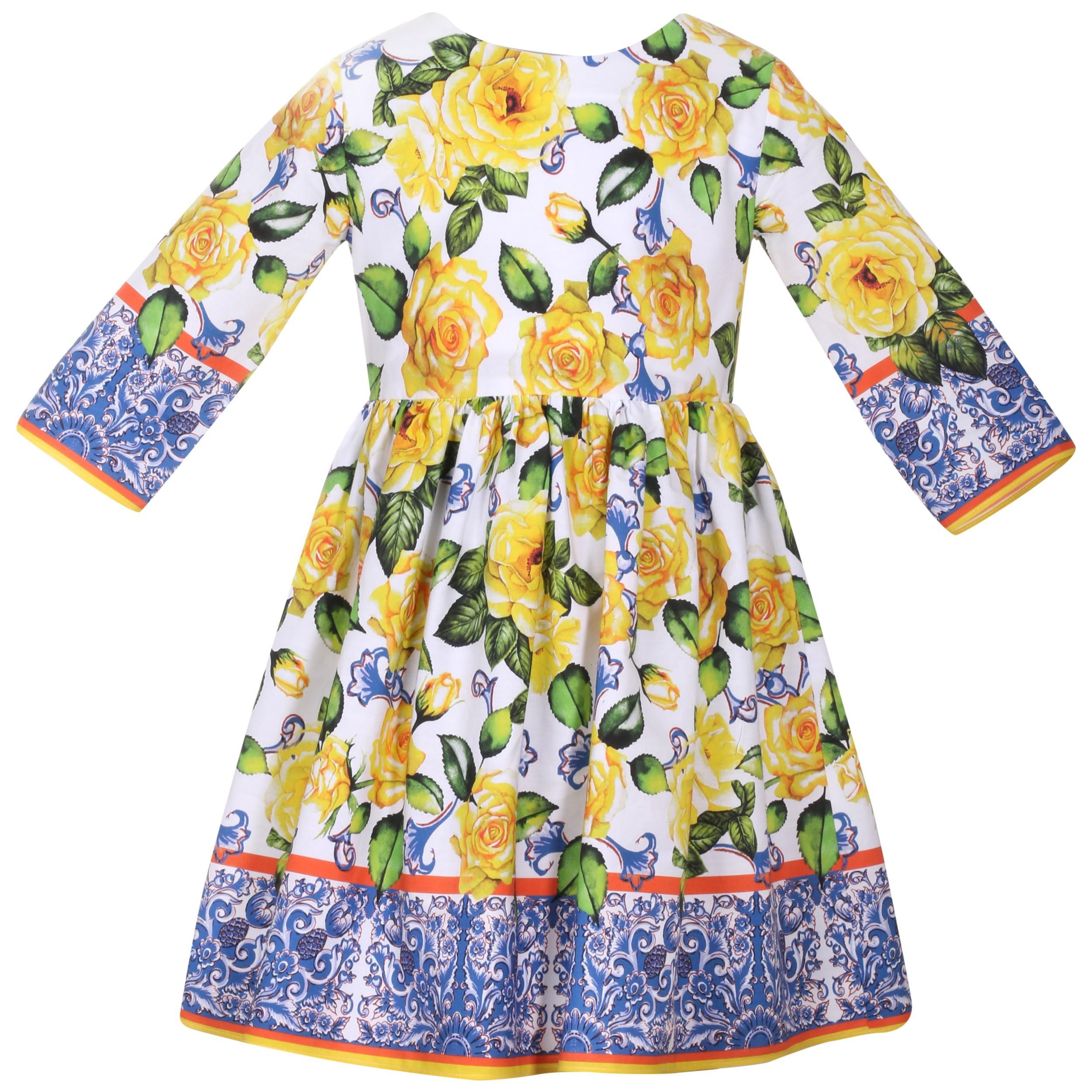 c9a96f8f2 S19P5 Patachou Yellow Rose Bright Print Dress – Buttoned Up ...
