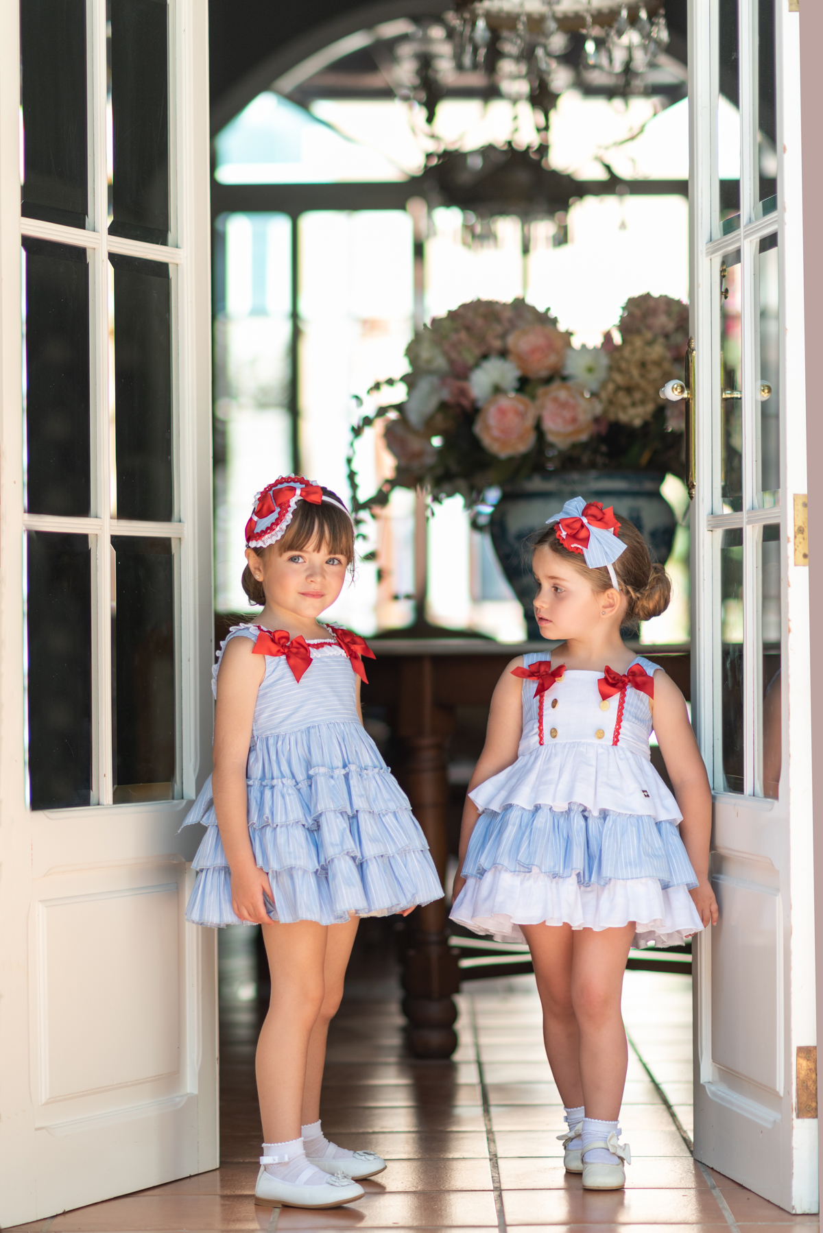 1cd17333df1b S19DP20 Dolce Petit Pale Blue   White Ruffle Dress with Gold Buttons ...