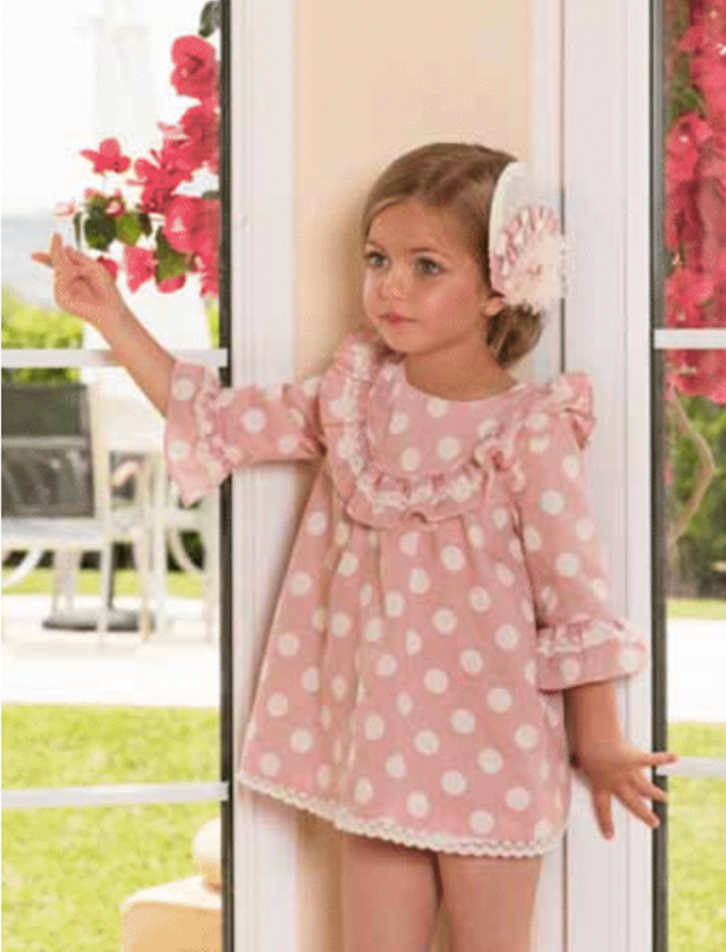 45dbcd667 S19DP14 Dolce Petit Pink & Cream Polka Dot Dress – Buttoned Up ...