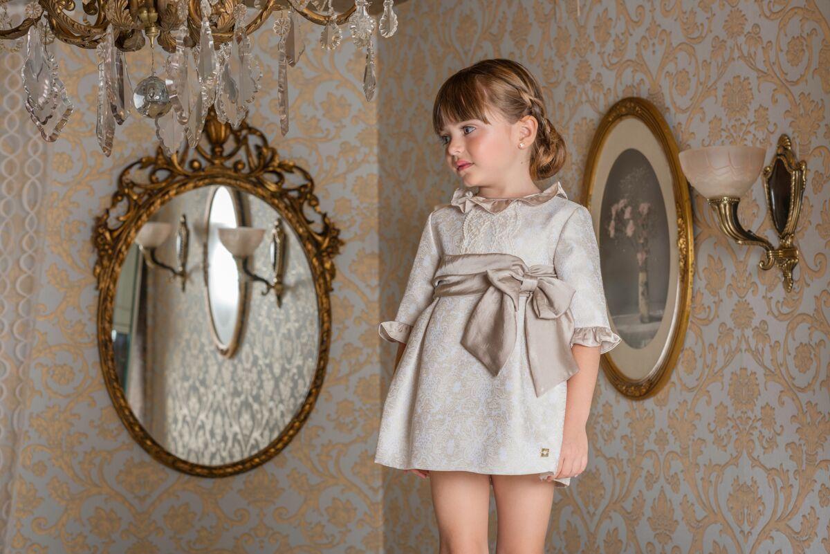 e8e32d3bb S19DP7 Dolce Petit Beige Jacquard Dress with Bow – Buttoned Up ...